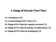 4. Design of Discrete-Time Filters
