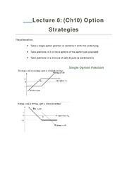 Lecture 8 Option Strategies
