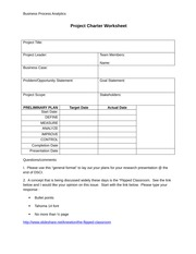 preliminary project charter worksheet Pmp worksheets - download as a detailed project scope statement ¨ opa ¨ project charter ¨ preliminary project scope statement ¨ project scope.