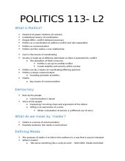 Pols 113 Lecture 2