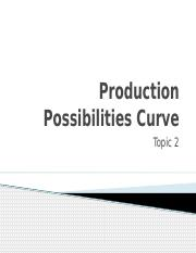 Topic 2- Production Possibilities Curve