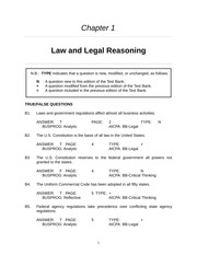 Chapter 01 Law and Legal Reasoning