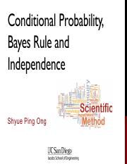 03 - Conditional Probability, Bayes Rule and Independence