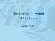 Lecture 2 note, The Colonial Period