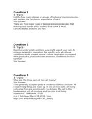 BI101 Final Exam - Partial Answers