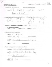 Logarithmic Functions Outline