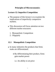 Lecture 12: Imperfect Competition Econ 1150