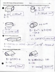03-21-2016 - ANSWERS - Volume of Prisms and Cylinders