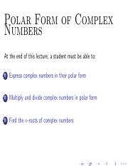 M29 Polar Form of Complex Numbers