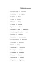 FRE 151 Les Sciences Vocab List