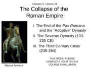 Lecture 24 The Collapse of the Roman Empire