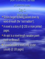 Short Story-Novel Class Notes