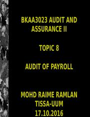 BKAA3023 Topic 8 Audit of Payroll