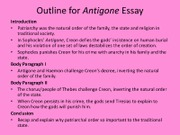 outline for antigone essay order of the family body paragraph ii  outline for antigone essay order of the family body paragraph ii • the chorus people of thebes challenge creon inverting the natural order of the