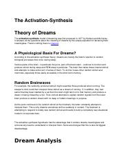 The-Activation-synthesis-theory