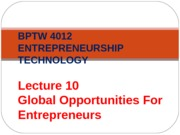 L10 - Global Opportunities For Entrepreneur