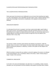 CLASSIFICATION AND PROFESSIONALISM OF BROADCASTERS
