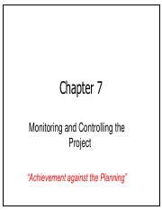 Chap07 Monitoring and Controlling the Project
