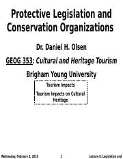 GEOG 353 W16 - Lecture 8 - Protective Legislation and Conservation Organizations (Full Notes)