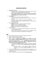Class Note Contract Notes