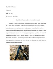 ENV-SCI 110L - Brush Creek Report
