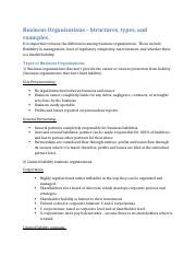 Business Organizations - Structures and Types.docx