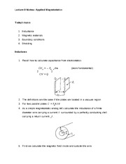 Lecture 9 Notes Applied Magnetostatics