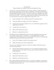 Sociology 3201Practice Problems for Confidence Intervals and. Hypotheses