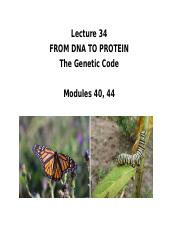 Lecture 34 Genetic code 2015p(1)