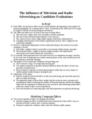 The Influence of Television and Radio Advertising on Candidate Evaluations (summary of reading)