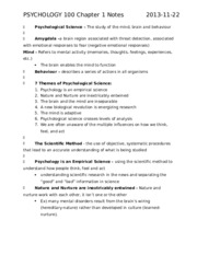 PSYCHOLOGY 100 Chapter 1 Notes