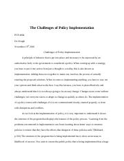 Challenges of policy implementation Final Essay