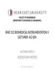 BME 312 Biomedical Instrumentation II-Lecture Note 3- Blood Flow Meters