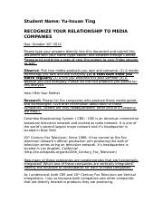 COM 201 Friday Project 2- Recognize Relationship to Media Companies