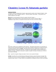 Chemistry Lesson 1 - subatomic particles