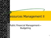 Resources Management II Public Financial Management Budgeting Spring 2015