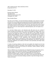 Assigment: Letter to OBAMA