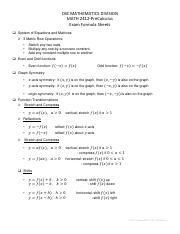 P9 - CBC MATHEMATICS DIVISION MATH 2412-PreCalculus Exam