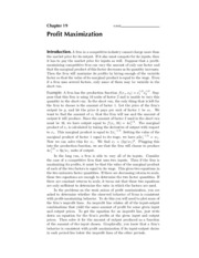 19. Profit Maximisation - Solutions