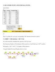 Case 4 T03 time study and line balancing solution