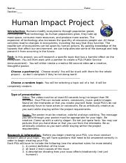 Human Impact PSA Project Guidelines