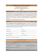 Religious Absence Request Form