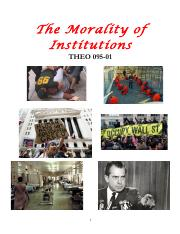 Syllabus for The Morality of Institutions