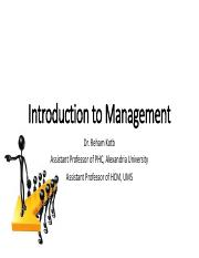 1- Introduction to Management