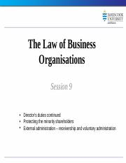 Law of Business Organisations session 9 2014
