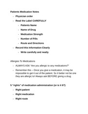 Patients Medication Notes