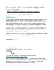 a discussion on television aggression The authors of this and similar studies say the causal link between tv and  aggressive behavior is now nearly as strong as the link between.