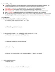 Study Guide for Test #3 Solubility