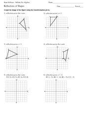 4 pages math 8 reflection of shapes worksheet solutions - Reflection Worksheet