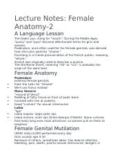 Lecture Notes - Female Anatomy .docx